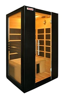Interline 45990510 Infrarot-Wärmekabine Vorder und Seitenwand Glas inklusive Bluetooth Spieler, schwarz - 1