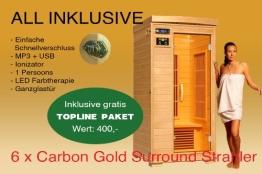 Ivar-1 Topline Große 1 Person Infrarotkabine & Infrarotsauna / 1200 Watt / Infrarot Wärmekabine und viele Extras - 1
