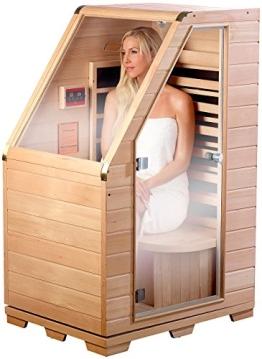 newgen medicals Kompakte Infrarot-Sitzsauna aus Hemlock-Holz, 760 Watt - 1